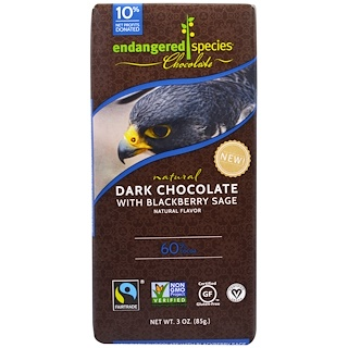 Endangered Species Chocolate, Dark Chocolate With Blackberry Sage, Natural, 3 oz (85 g)