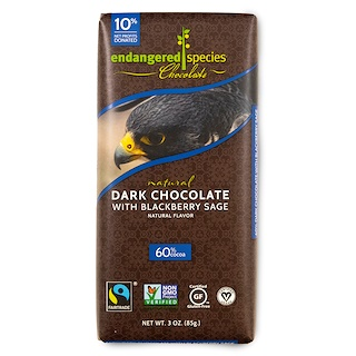 Endangered Species Chocolate, Natural Dark Chocolate With Blackberry Sage, 3 oz (85 g)