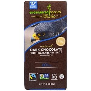 Endangered Species Chocolate, Темный шоколад с черной смородиной и шалфеем, натуральный, 3 унции (85 г)