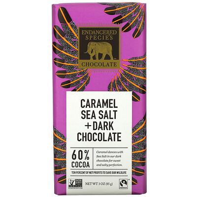 Купить Endangered Species Chocolate Caramel Sea Salt + Dark Chocolate, 60% Cocoa, 3 oz (85 g)