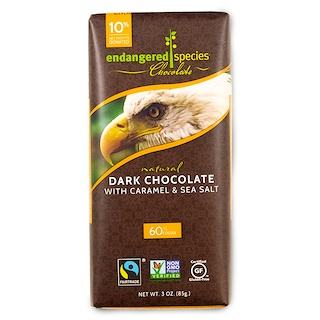 Endangered Species Chocolate, Natural Dark Chocolate With Caramel & Sea Salt, 3 oz (85 g)