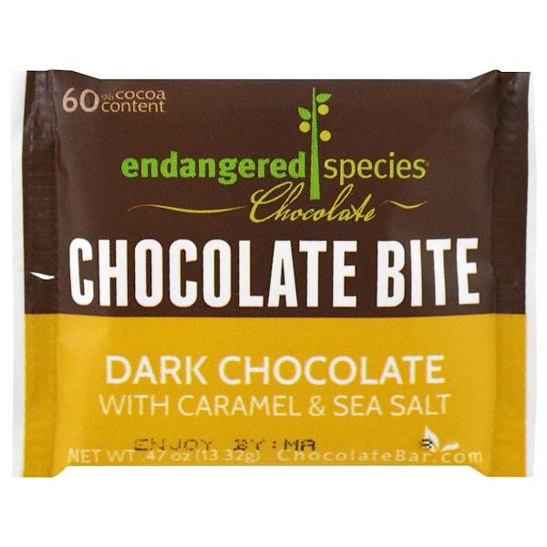 Endangered Species Chocolate, Dark Chocolate with Caramel & Sea Salt, 0.47 oz (13.32 g) (Discontinued Item)