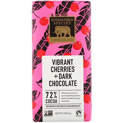 Vibrant Cherries + Dark Chocolate, 72% Cocoa, 3 oz (85 g) beef jerky teriyaki 3 oz 85 g