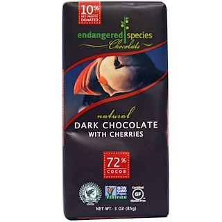 Endangered Species Chocolate, Natural Dark Chocolate with Cherries, 3 oz (85 g)