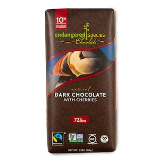 Endangered Species Chocolate, Chocolate Oscuro Natural con Cerezas, 3 oz (85 g)