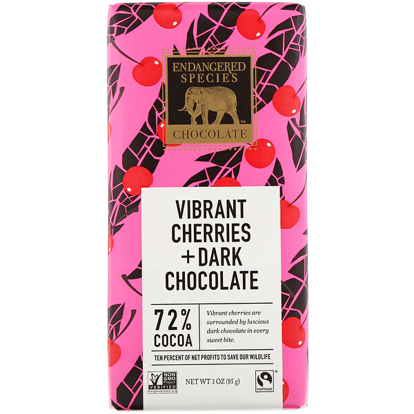Vibrant Cherries + Dark Chocolate, 72% Cocoa, 3 oz (85 g)