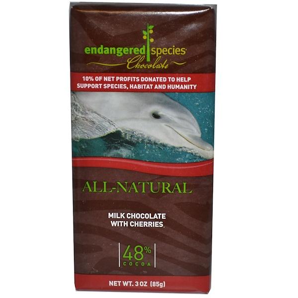 Endangered Species Chocolate, Молочный шоколад с вишней, 3 унции (85 г) (Discontinued Item)