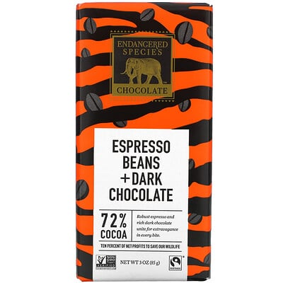 Купить Endangered Species Chocolate Espresso Beans + Dark Chocolate, 72% Cocoa, 3 oz (85 g)