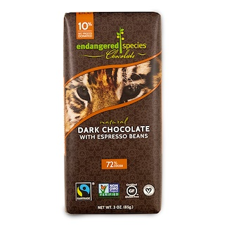 Endangered Species Chocolate, Natural Dark Chocolate with Espresso Beans, 3 oz (85 g)