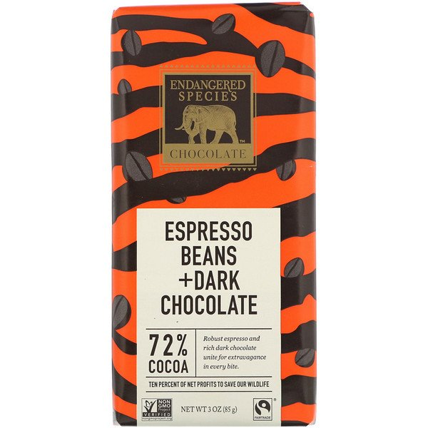 Endangered Species Chocolate, Espresso Beans + Dark Chocolate, 72% Cocoa, 3 oz (85 g)