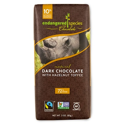 Endangered Species Chocolate 天然黑巧克力與榛子太妃,3盎司(85 克)