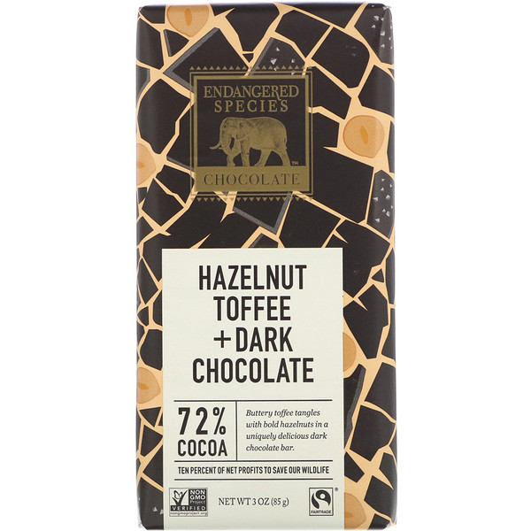 Hazelnut Toffee + Dark Chocolate, 72% Cocoa, 3 oz (85 g)