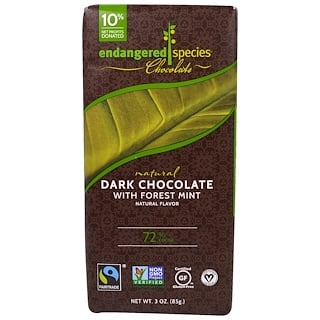 Endangered Species Chocolate, Natural Chocolate with Forest Mint, 3 oz (85 g)