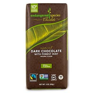 Endangered Species Chocolate, Chocolate oscuro natural con menta del bosque, 3 oz (85 g)