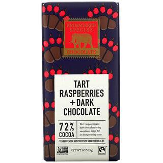 Endangered Species Chocolate, لوح شيكولاتة داكنة + تارت توت العليق، 72% كاكاو، ، 3 أونصة (85 جم)
