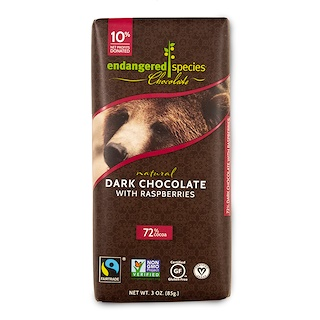 Endangered Species Chocolate, Natural Dark Chocolate with Raspberries, 3 oz (85 g)