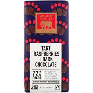 Endangered Species Chocolate, Пирог с малиной + батончик из темного шоколада, 72% какао, 3 унц. (85 г)