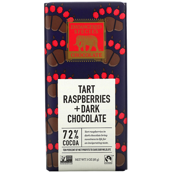 Tart Raspberries + Dark Chocolate Bar, 72% Cocoa, 3 oz (85 g)