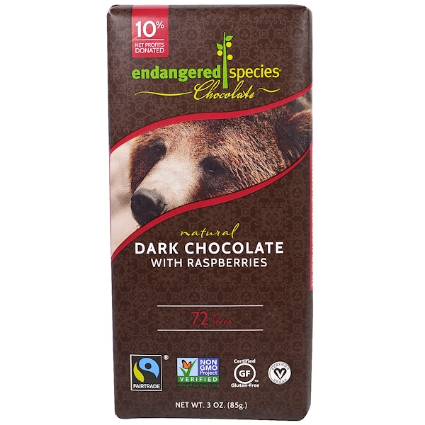 食品,百貨可可,巧克力巧克力能量棒:Endangered Species Chocolate, 覆盆子黑巧克力,3盎司(85克)