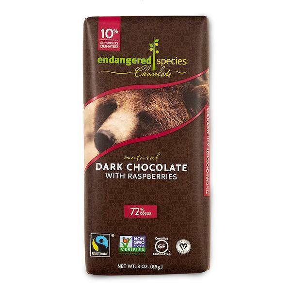 Endangered Species Chocolate, Натуральный темный шоколад с малиной, 3 унц. (85 г)