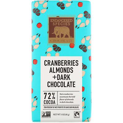 Натуральный темный шоколад с клюквой и миндалем, 3 унц. (85 г) все цены