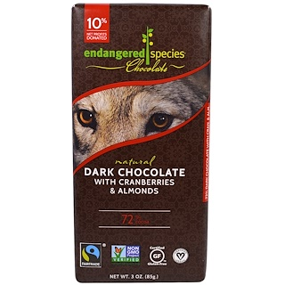 Endangered Species Chocolate, Dark Chocolate with Cranberries & Almonds, 3 oz (85 g)