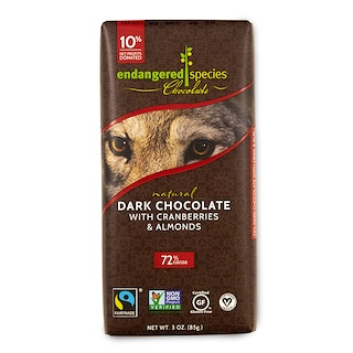 Endangered Species Chocolate, Natural Dark Chocolate with Cranberries & Almonds, 3 oz (85 g)