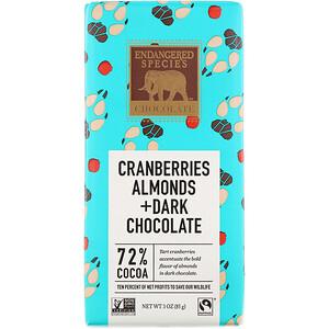 Индэнджэрд Списис Чоколат, Cranberries, Almonds + Dark Chocolate, 72% Cocoa, 3 oz (85 g) отзывы покупателей