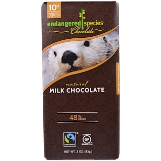 Endangered Species Chocolate, Natural Milk Chocolate, 3 oz (85 g)