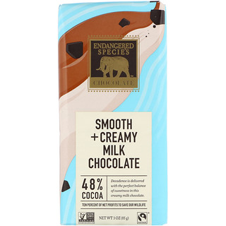 Endangered Species Chocolate, Smooth + Creamy Milk Chocolate, 48% Cocoa, 3 oz (85 g)