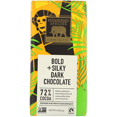 Bold + Silky Dark Chocolate, 72% Cocoa, 3 oz (85 g)