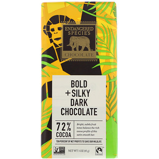 Endangered Species Chocolate, Bold + Silky Dark Chocolate, 3 oz (85 g)