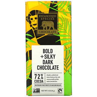 Endangered Species Chocolate, Bold + Silky Dark Chocolate, 72% Cocoa, 3 oz (85 g)