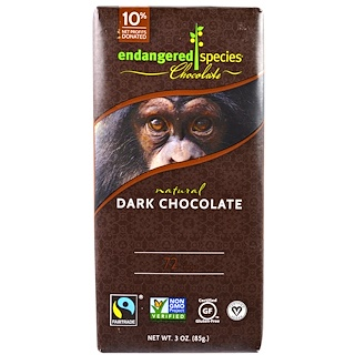 Endangered Species Chocolate, Натуральный горький шоколад, 3 унций (85 г)