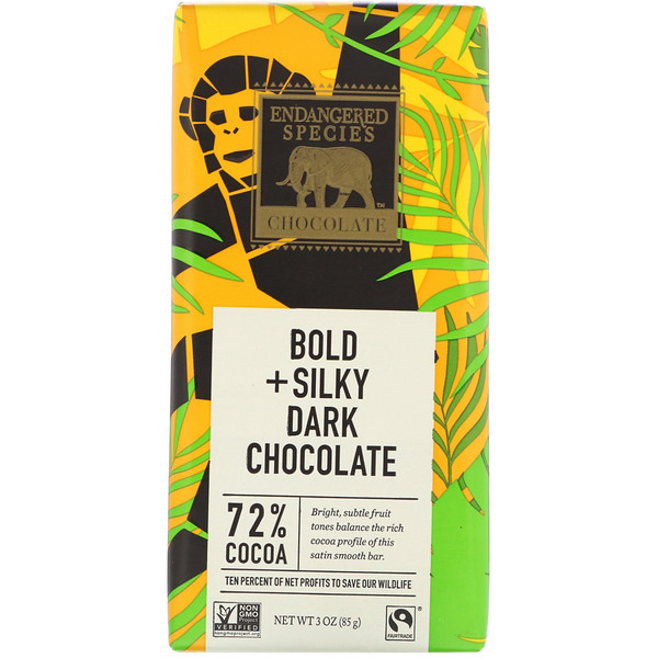 Bold + Silky Dark Chocolate, 72% Cocoa, 3 oz (85 g)