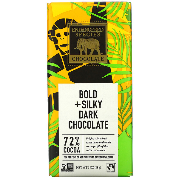 Endangered Species Chocolate, Chocolat noir intense et onctueux, 72% de cacao, 85g