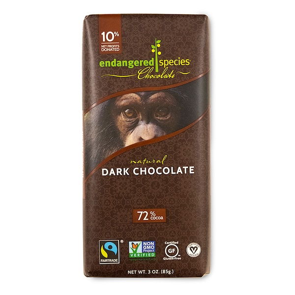 Endangered Species Chocolate, Натуральный горький шоколад, 3 унций (85 г)