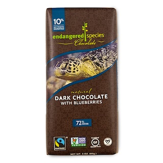 Endangered Species Chocolate, Natural Dark Chocolate with Blueberries, 3 oz (85 g)