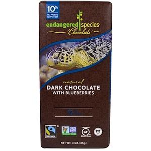 Endangered Species Chocolate, Темный шоколад с черникой, 3 унции (85 г)