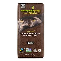 Endangered Species Chocolate, 88%ココアのナチュラルダークチョコレート、3オンス(85g)