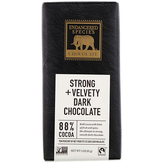 Endangered Species Chocolate, Strong + Velvety Dark Chocolate, 88% Cocoa, 3 oz (85 g)