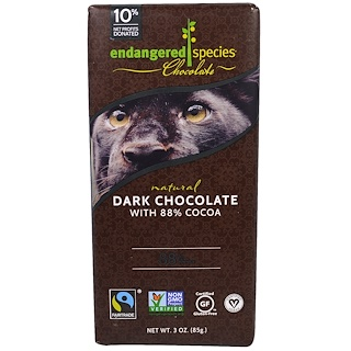Endangered Species Chocolate, Chocolate negro natural, 3 oz (85 g)