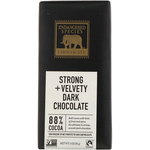 Endangered Species Chocolate, Chocolat noir velouté et fort, 3 oz (85 g)