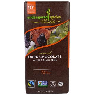 Endangered Species Chocolate, Intense Dark Chocolate with Cacao Nibs, 3 oz (85 g)