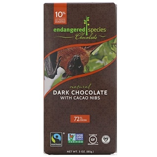 Endangered Species Chocolate, Natural Dark Chocolate with Cacao Nibs, 3 oz (85 g)