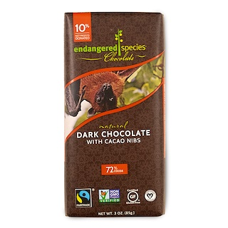 Endangered Species Chocolate, Chocolate negro natural con semillas de cacao, 3 oz (85 g)