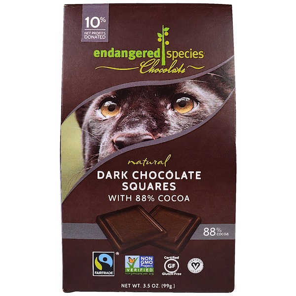 Endangered Species Chocolate, ナチュラル・ダークチョコレート・スクエアズ、10ピース入り、3.5 oz (99 g) (Discontinued Item)