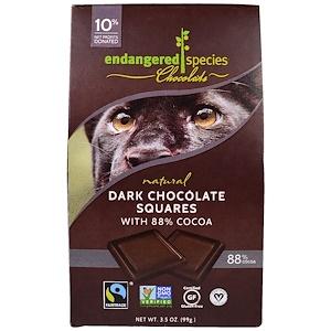 Индэнджэрд Списис Чоколат, Natural Dark Chocolate Squares, 10 Pieces, 3.5 oz (99 g) отзывы