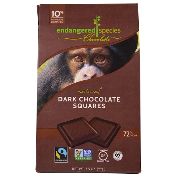Endangered Species Chocolate, ナチュラルダークチョコレートスクエア、3.5 oz (99 g) (Discontinued Item)