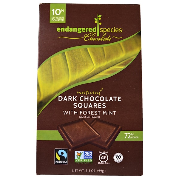Endangered Species Chocolate, Natural Dark Chocolate with Forest Mint, 10 Pieces, 10 g Each (Discontinued Item)